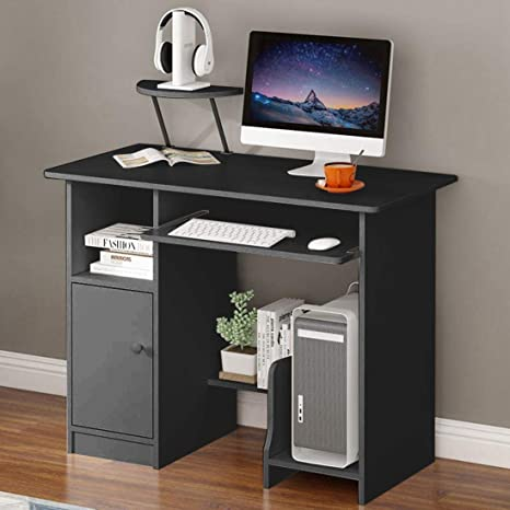 Computer Desk White Table Workstation Home Office Student Laptop Study w//Shelf