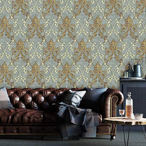 """8305 Luxury Damask Wallpaper Rolls Gray/Beige/Rust red Embossed Texture Victorian Wall Paper Home Bedroom Living Room Hotels Wall Decoration 20.8""""x 32.8ft"""