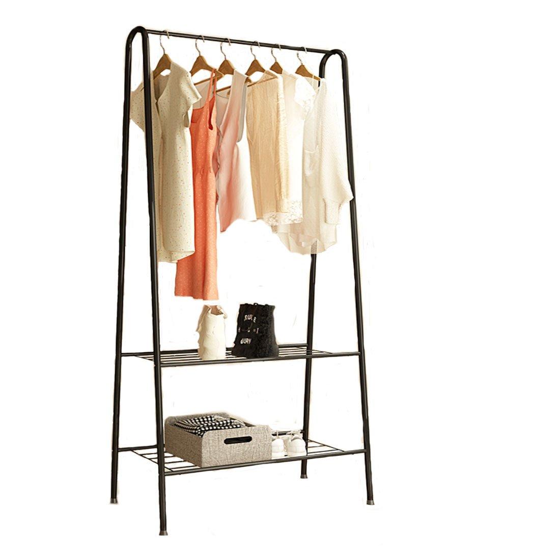 Fresh Household Garment Rack, Heavy Duty Coat Rack 2-Tier Metal Hanging Clothes Rack Portable Closet Bottom Shelves Shoes Storage - Black