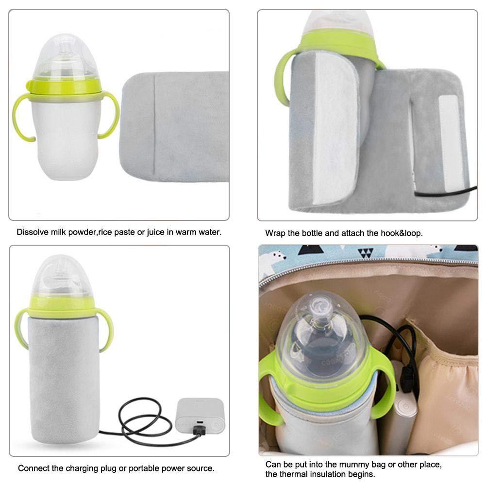 Rosa Botella calentador con USB y forro Termostato Exterior port/átil Leche Calefacci/ón Calentador for Baby
