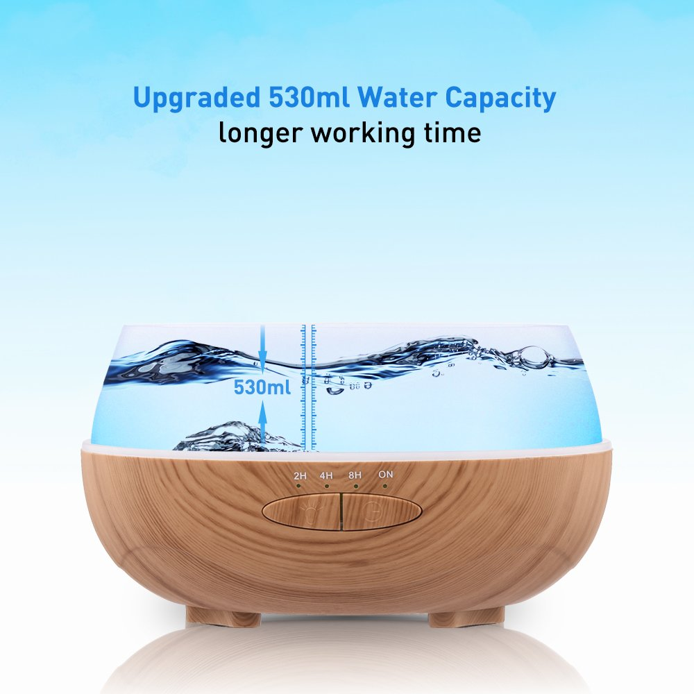 Aromatherapy Essential Oil Diffuser 530ml Cool Mist Ultrasonic Fragrance Scent Air Humidifier Wood Grain 8 Hours Aroma Diffuser with 7 Colors Quiet Auto Shut Off from Ominihome for Home/Bedroom/Office