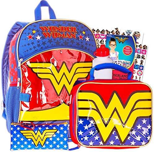 Official Wonder Woman Retro Comic Style Black School Messenger College Book Bag