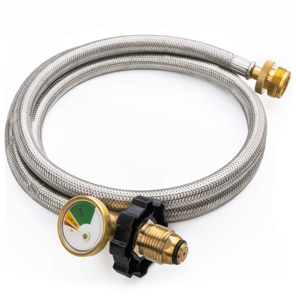 SHINESTAR 5FT POL Stainless Braided Propane Hose Adapter with Propane Tank Gauge, 1lb to 20lb Propane Converter Hose for Propane Stove, Tabletop Grill and More 1lb Portable Appliance by SHINESTAR
