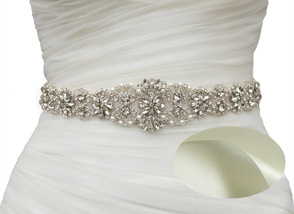 SoarDream Ivory Bridal Dress Sash Belt Wedding Belt With Crystal Beaded