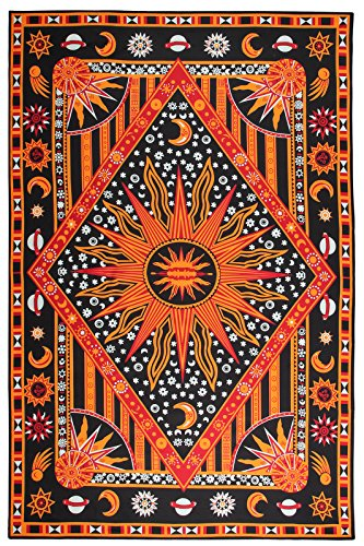 FLY SPRAY Large Tapestry Psychedelic Burning Sun Moon Stars Universe Tie Dye Hippy Wall Hanging Polyester Durable Non-fading Indian Coverlet Blanket Curtain Decor Orange (To Place Curtains Best Buy Inexpensive)