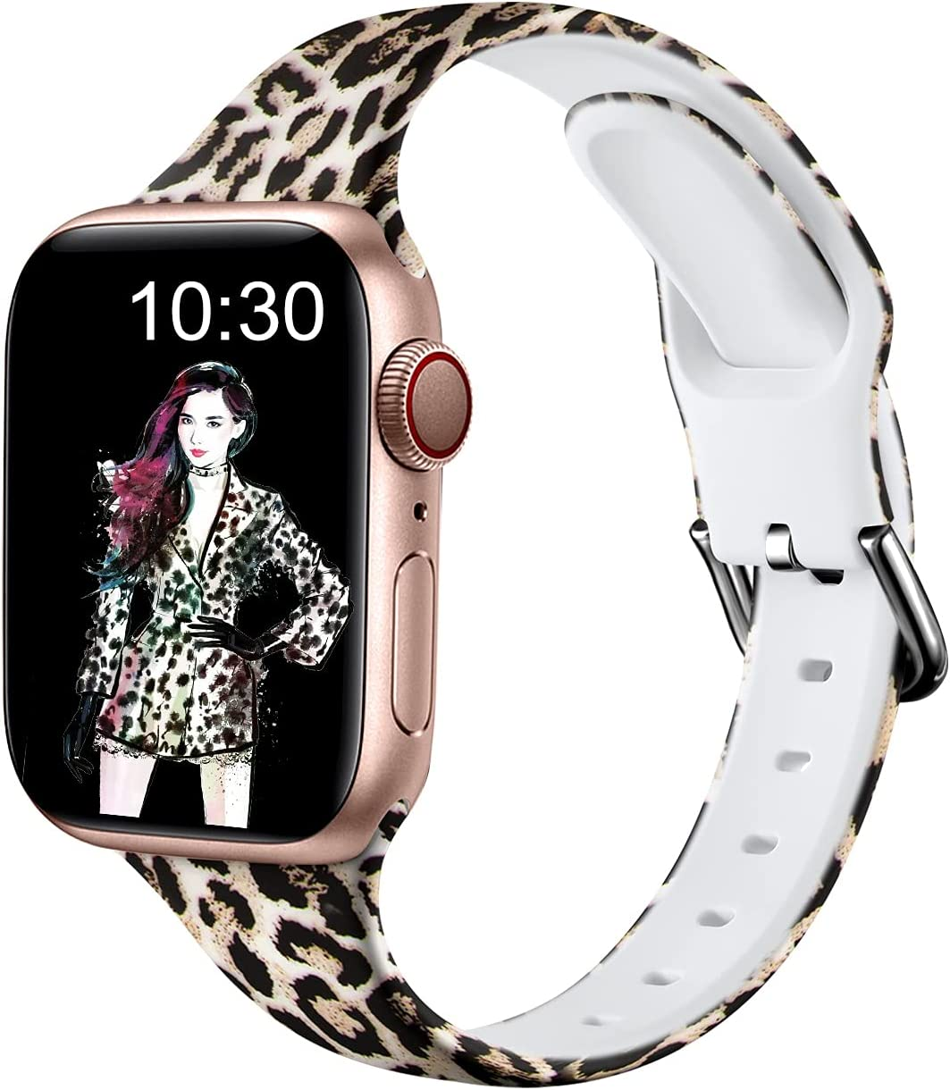 Nofeda Bands Compatible with Apple Watch band 38mm 40mm iWatch Series 6 5 4 3 2 1 & SE, Slim Silicone Printed Fadeless Replacement Strap Band for Women Men, Leopard