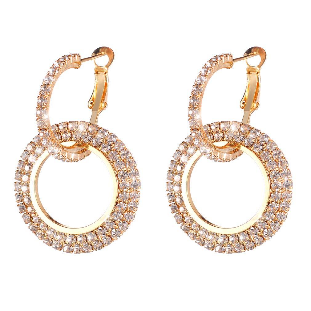 Weiy Glittering Round Circle Crystal Dangle Earrings Fashionable Charming Elegant Stylish Drop Earrings Jewelry Gift For Women Girl