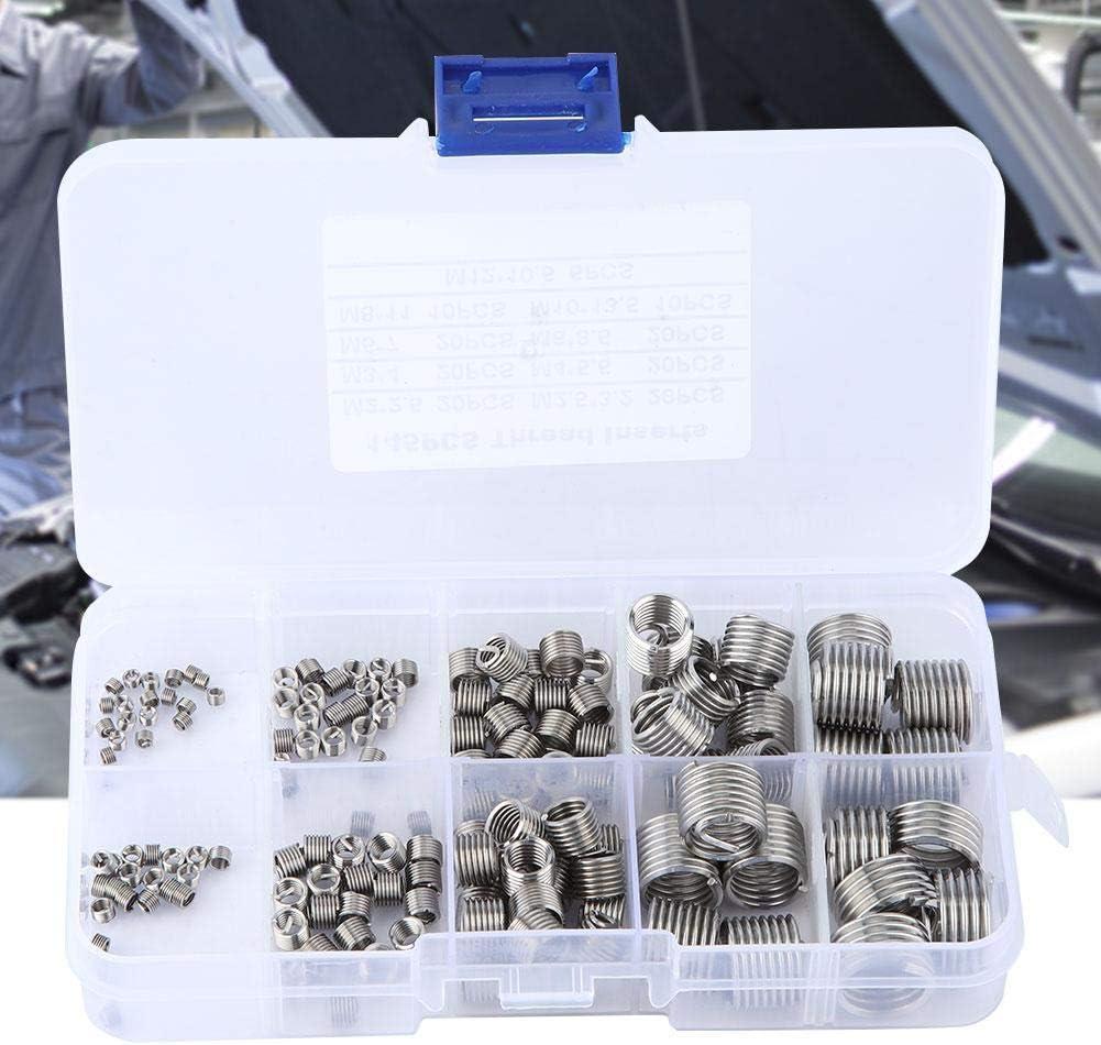 Thread Repair Insert Kit 145Pcs//set Stainless Steel Wire Screw Sleeve Thread Repair Insert Kit Tool Set for Microwave Communication Automotive Parts