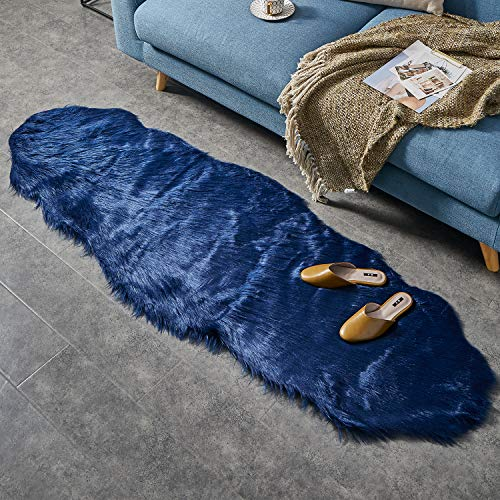 Ashler Soft Faux Sheepskin Fur Chair Couch Cover Navy Blue Area Rug for Bedroom Floor Sofa Living Room 2 x 6 -