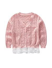 CJ Fashion Kids Cardigan Sweater for Toddler Girls with Lace Hem 2-7 Years Old