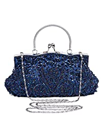 BAIGIO Women Clutch Evening Bag Wedding Bridal Vintage Handbag Purse for Party Prom (Dark Blue)