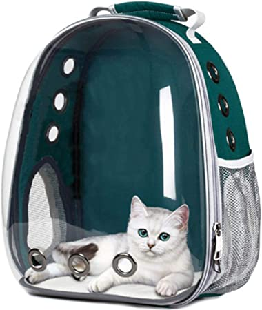 LCK Outdoor Carrying Cat Travel Bag Breathable Space Capsule Transparent Carrier Pet Backpack For Small Cat Dog,Light Green: Amazon.es: Hogar