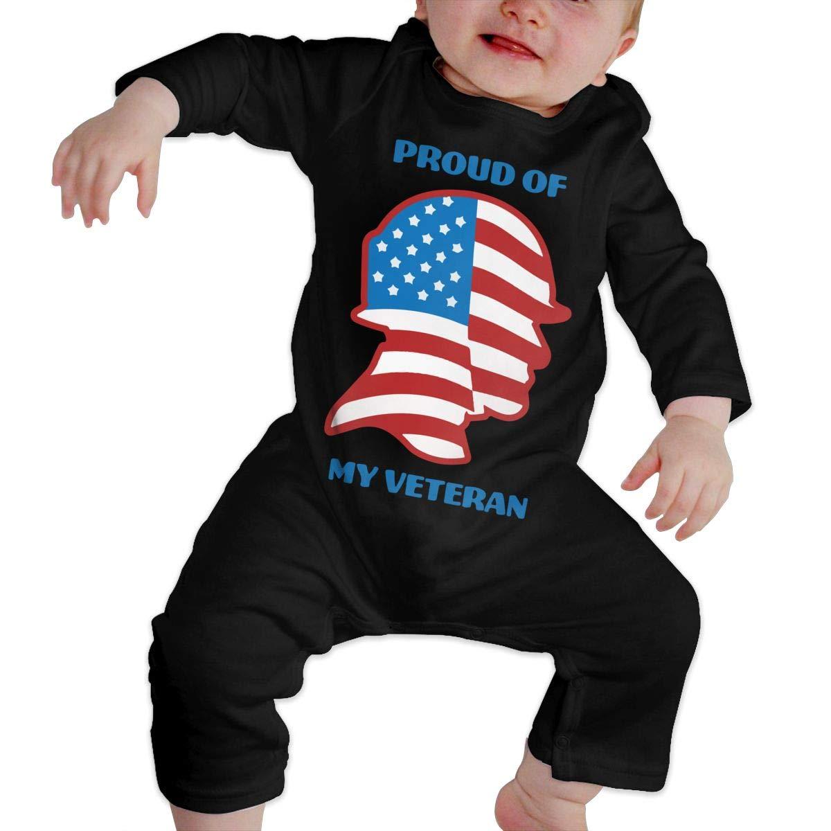 Db84UR@5p Infant Baby Girls Boys Long Sleeve Bodysuit Cute Proud of My Veteran Cotton Sleepwear