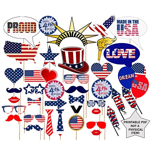 KODOO 39 Pcs 4th of July Photo Booth Props Patriotic Party Props for American Independence Day Party Decorations