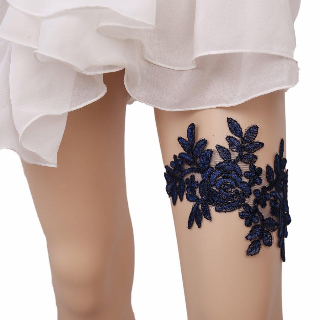 Bueer Wedding Bridal Bridesmaid Black Lace Garter Set Keepsake Toss Tradition Vintage (5-Black)