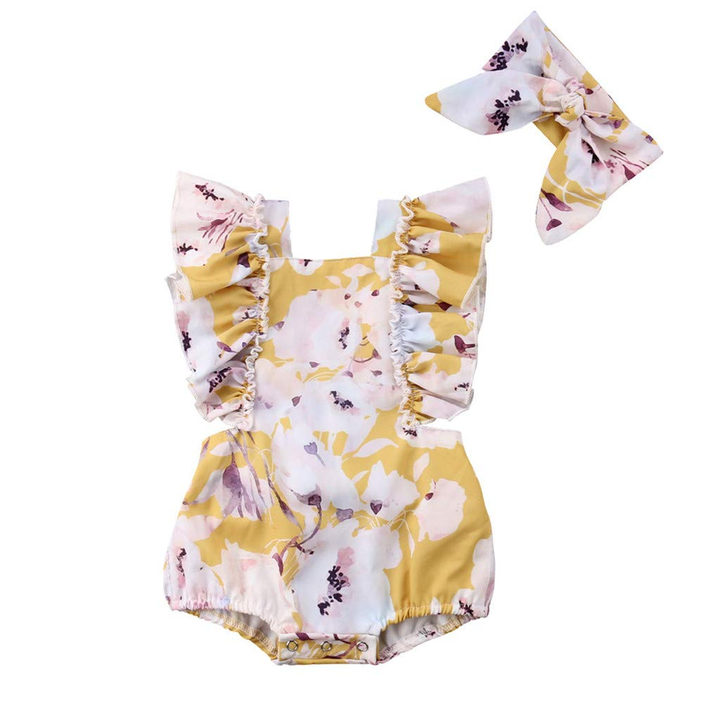 NUWFOR Newborn Infant Baby Girl Floral Printed Romper Headband Bodysuit Clothes Outfits(Z1-Yellow,12-18 Months)