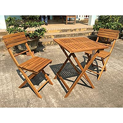 Exaco 3 Piece Wood Patio Balcony/Bistro Set