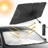 Psychone Car Windshield Sun Shade Foldable Umbrella Reflective Sunshade for Vehicle Blocks UV Rays and Heat, Sun Visor…