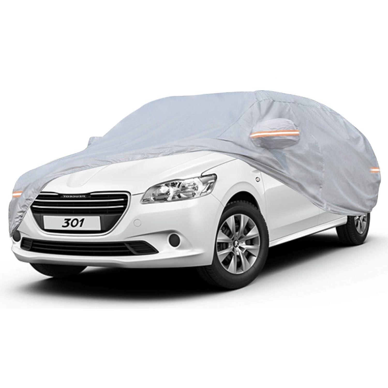 NOVSIGHT Housse de Voiture pour Peugeot 307 B/âche de Protection pour Auto en PEVA Coton Gris Taille M 440x180x160CM