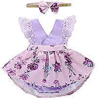 PROBABY 幼童女婴衣服花卉连衣裙蕾丝荷叶边袖连衫裤发带 2 件套