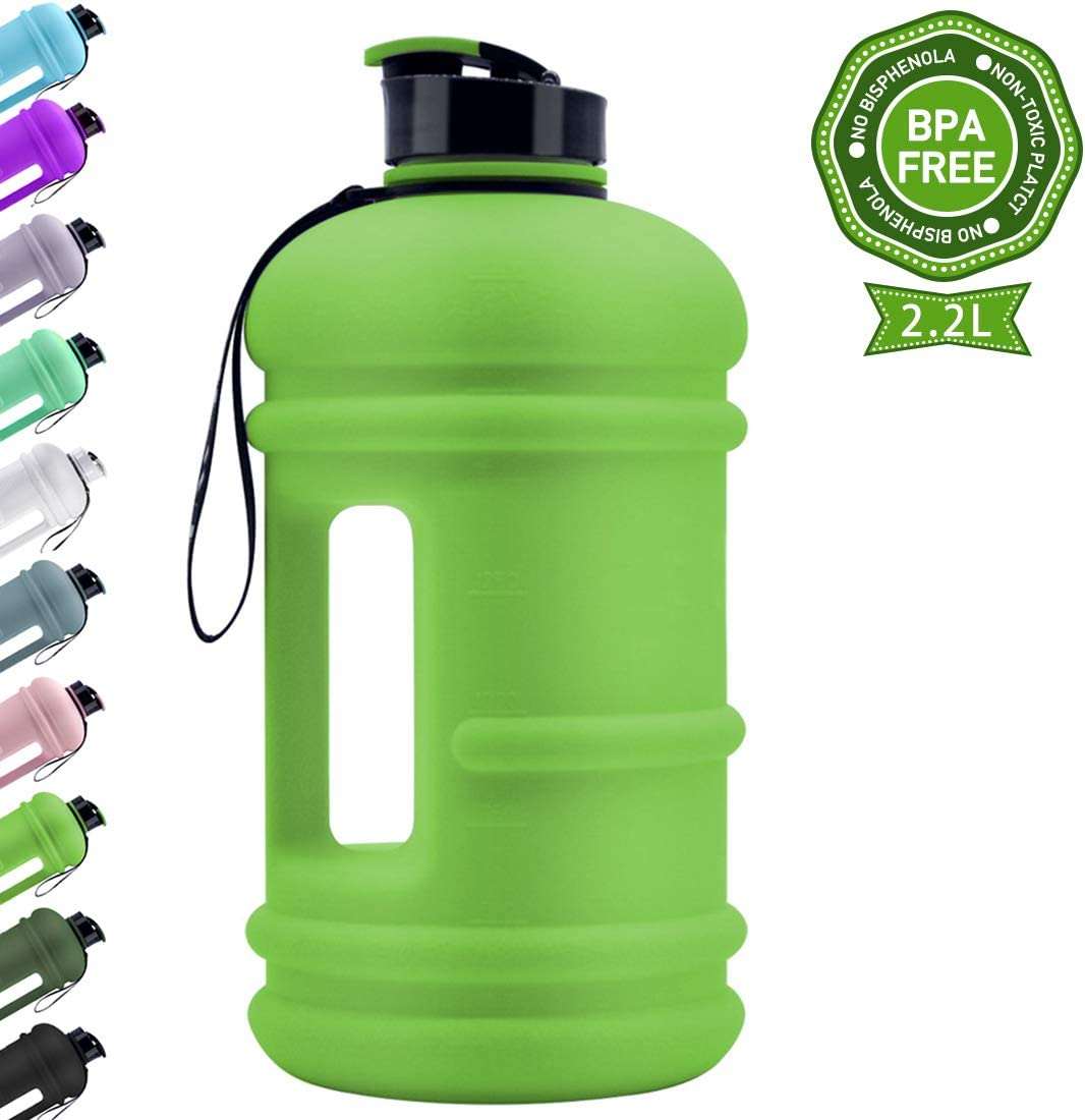 TOOFEEL Dishwasher Usable Large 2.2L Water Jug Big Reusable Sports Water Bottle 75oz Half Gallon Hydro Container Canteen BPA Free Leak-Proof for Gym Fitness Athletic