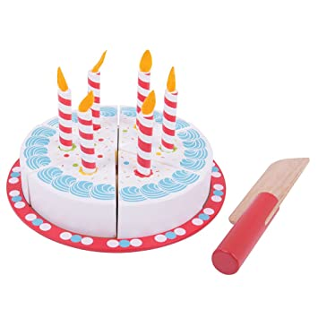 Bigjigs Toys BJ628 Wooden Birthday Cake With Candles Play Food