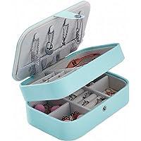 Piccola scatola portagioie blu fiore BagTu, espositore per gioielli con bottone a pressione blu, custodia da viaggio portatile mini con specchio incorporato