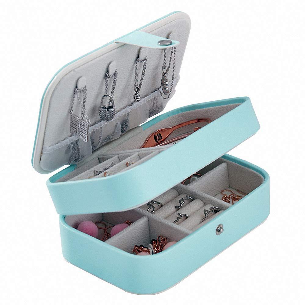 BagTu, Flor Azul, pequeño joyero, Azul, Broche de presión, Organizador de joyería, Vitrina, Mini Estuche portátil de Viaje con Espejo Incorporado