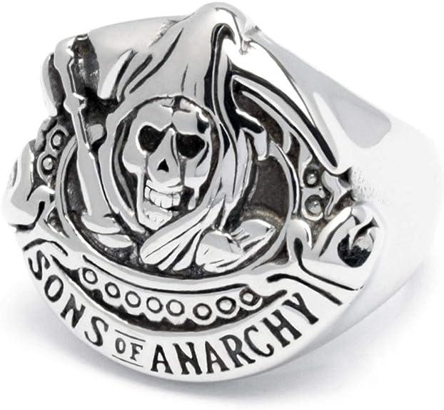Schmuck Checker Sons of Anarchy Ring Edelstahl Bikerring Motorradclub SAMCRO Sensenmann silber Bikerschmuck Männer Geschenk