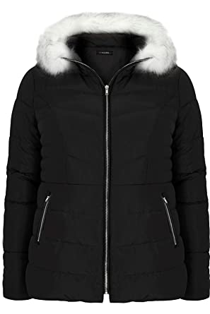 2b0ce726a0905 Yours Clothing Women s Plus Size Padded Puffer Coat with Hood   Faux Fur  Trim Size 16