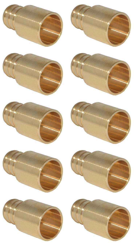(10-pk) Pex 1/2'' Male Sweat x 1/2'' Pex Barb Adapter- Sweats Inside Copper Fitting Hubs