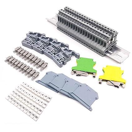 Erayco DIN Rail Terminal Blocks Kit, 20Pcs UK-2 5N 12 AWG Terminal Blocks,  2Pcs Ground Blocks, 2Pcs Fixed Bridge Jumpers, 4Pcs End Brackets, 4Pcs End