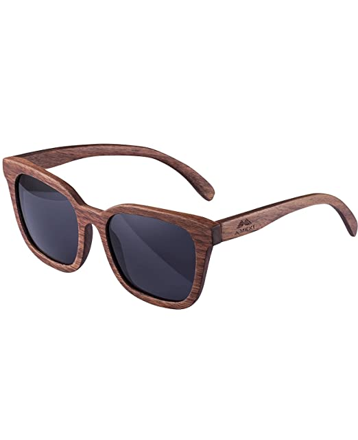 AMEXI Hombres hechos a mano Gafas de sol Gafas de sol de madera con lentes polarizados