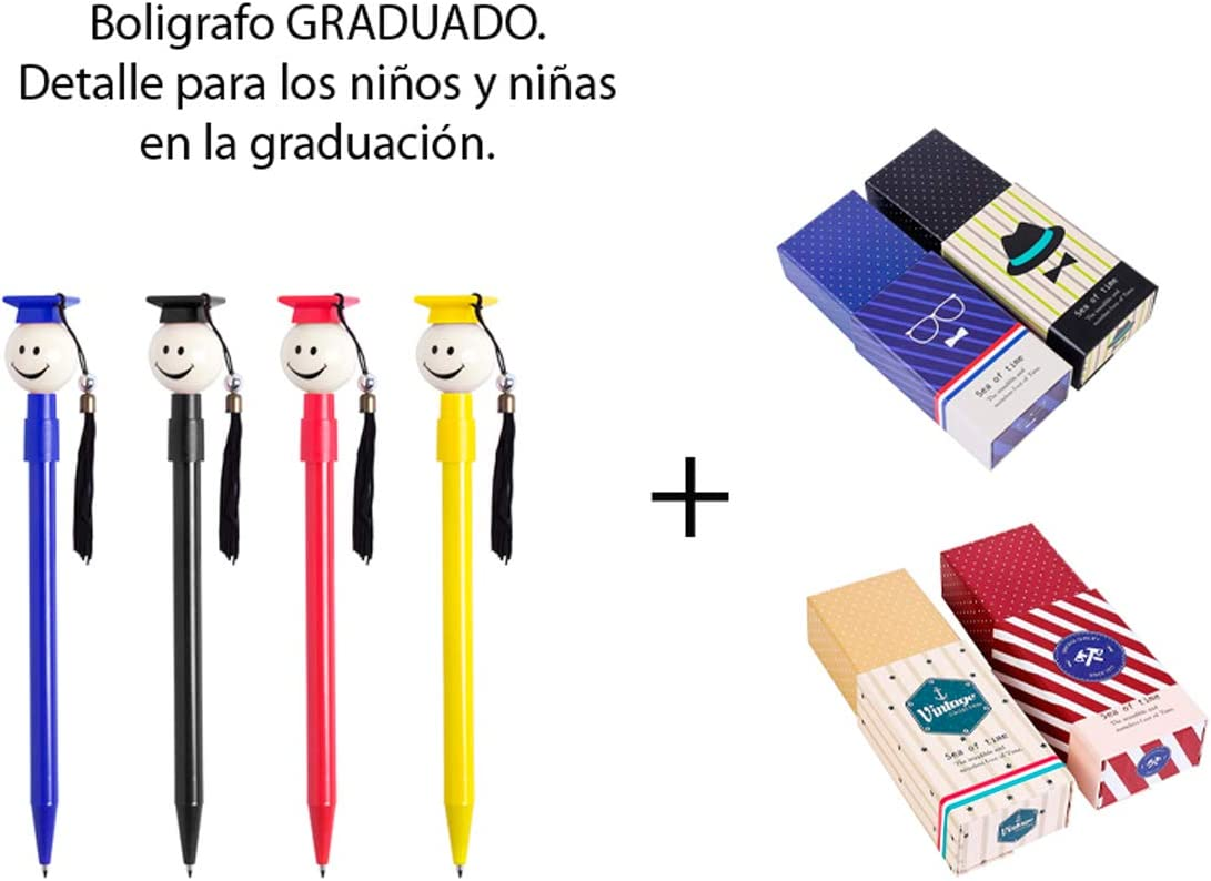 Lote de 50 Divertidos Bolígrafos para los graduados en variada gama de vivos colores con borla de tela + 2 Estuches para Boligrafos POLKA