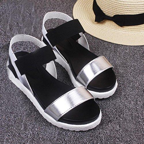 Transer® Damen Sandalen Silber Schwarz Weiß Künstliches PU+EVA Wohnungen Sandalen (Bitte achten Sie auf die Größentabelle. Bitte eine Nummer größer bestellen) Silber