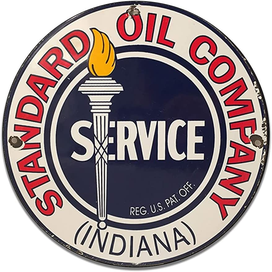 Standard Oil Indiana Service Company Emblem Seal Vintage Gas Signs Reproduction Car Company Vintage Style Metal Signs Round Metal Tin Aluminum Sign Garage Home Decor With 2 American Flag Vinyl Decals