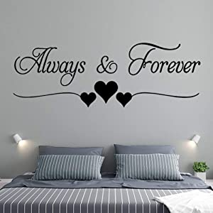 Wall Stickers for Bedroom and Living Room, Wall Decal Warmly for Bedroom Quote-Always & Forever Art Vinyl Décor Hiata