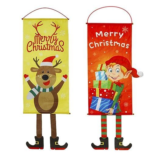 Banner de Feliz Navidad, 2 PCS Decoraciones Navideñas Cartel ...