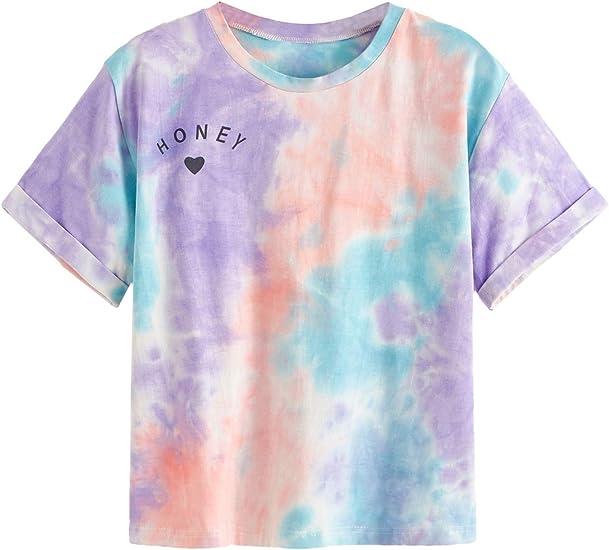 SweatyRocks Women's Rolled Short Sleeve Tie Dye Letter Print Crop Top T Shirt