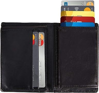 Mens Genuine Leather Wallet Bifold Credit Card Holder RFID Blocking Anti Scan