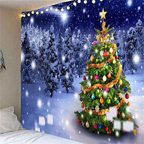 Christmas Tapestry Wall Hanging Xmas Christmas Tree Snowman Snowflakes Tapestries Wall Decor Art Home Decoration for Bedroom Living Room Dorm Decor (150X130, 11)