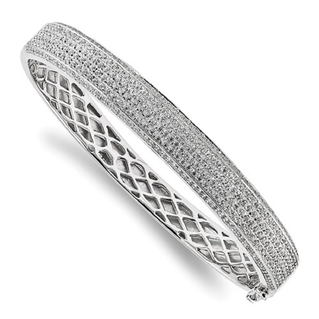 Roxx Fine Jewelry CZ and Sterling Silver 8.5mm Pave Hinged Bangle Bracelet QMP498