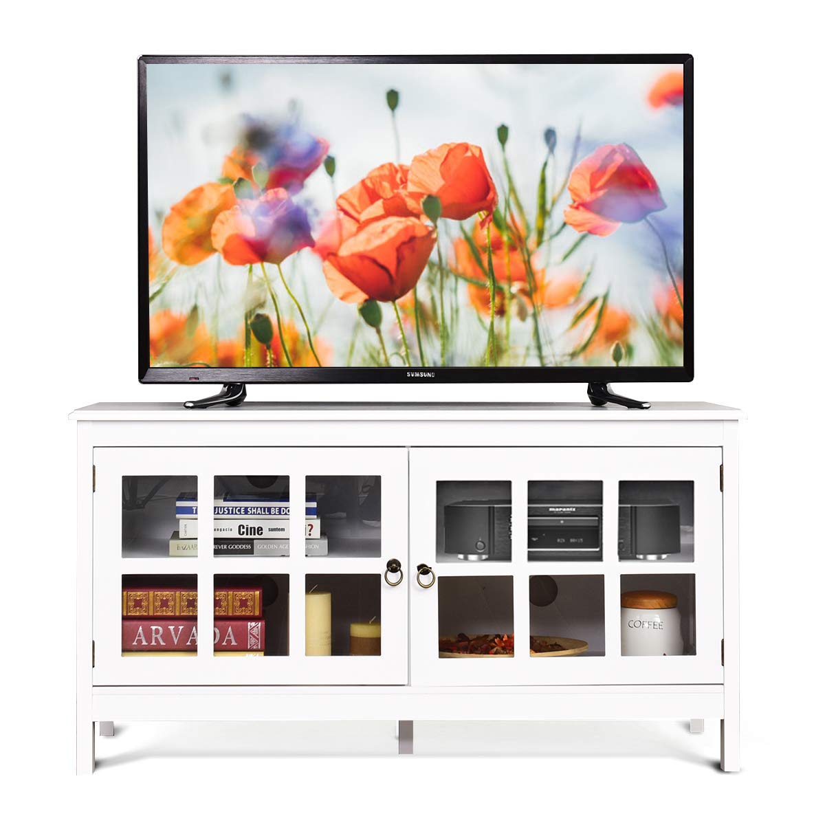 Tangkula TV Stand, Modern Wood Large Wide Entertainment Center for TV up to 50 , Living Room Media Console Cabinet Stand with 2 Doors White