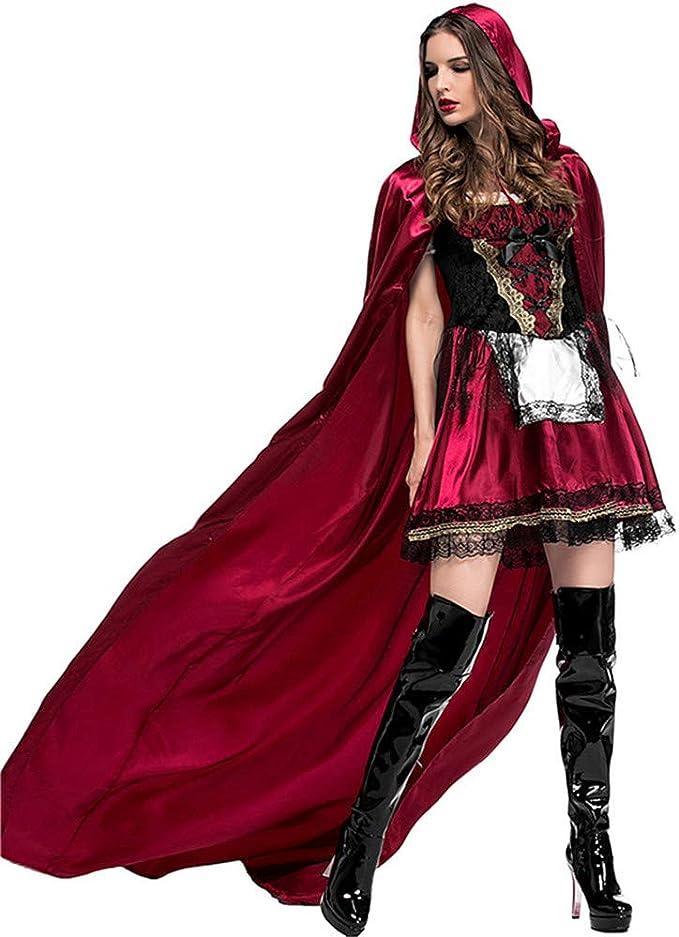 QAR Vestido De Caperucita Roja para Mujer Disfraz De Halloween ...