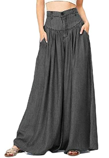 91080790b64 Papijam Womens Casual Plus Size High Waist Washed Denim Wide Leg Palazzo  Jeans Pants at Amazon Women s Jeans store
