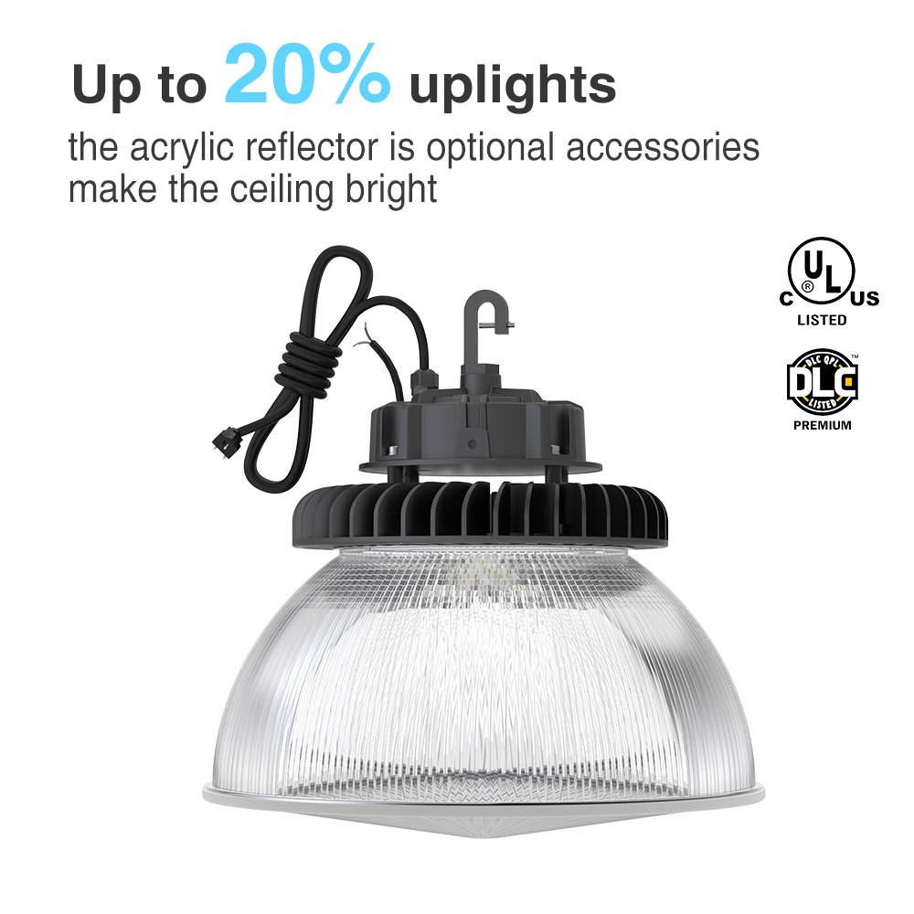 Hyperlite 150w LED High Bay Lighting, UL and DLC 4.2 Premium Approved, 4000K, LED High Bays Dimmable, 5'cable with Plug, US Hook, Acrylic Reflector is Optional by Hyperlite (Image #3)