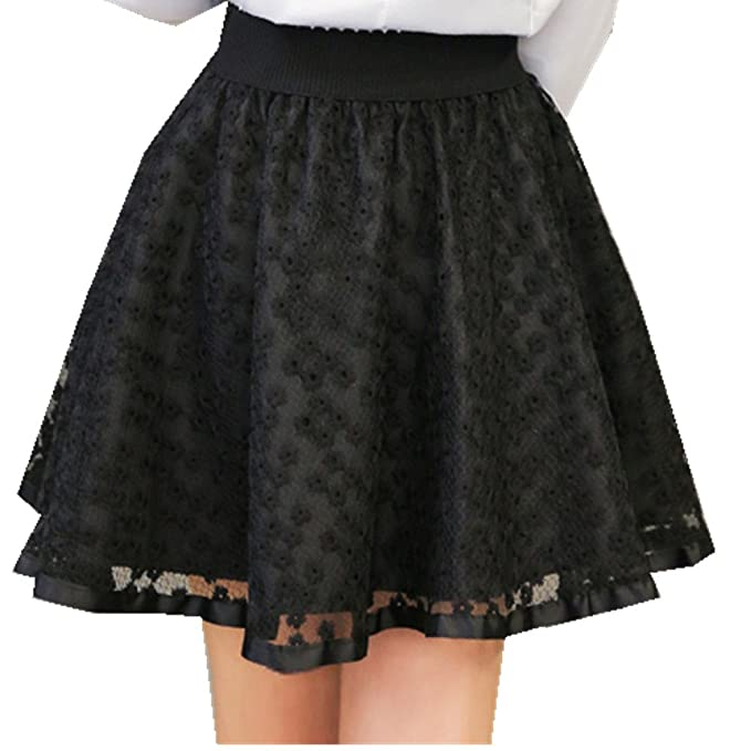 bed602720c504 ACE SHOCK Women's Pleated Elastic Waist Pierced Ball Gown Short Lace Skirts  Plus Size