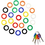 Meetory 24 Pack Key Caps Tags,Assorted Color Silicone Key Identifier Rings,Random Colors