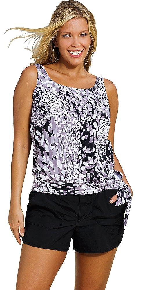 a58b6b9d211 Beach Belle Dew Drops Plus Size Blouson Cargo Shortini Plus Size Swimwear -  Black White - Size 26  Amazon.co.uk  Clothing
