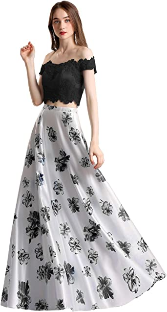 Celebrity Style Off Shoulder Sweetheart Neck Bodice Floral Print Dress Long Gown
